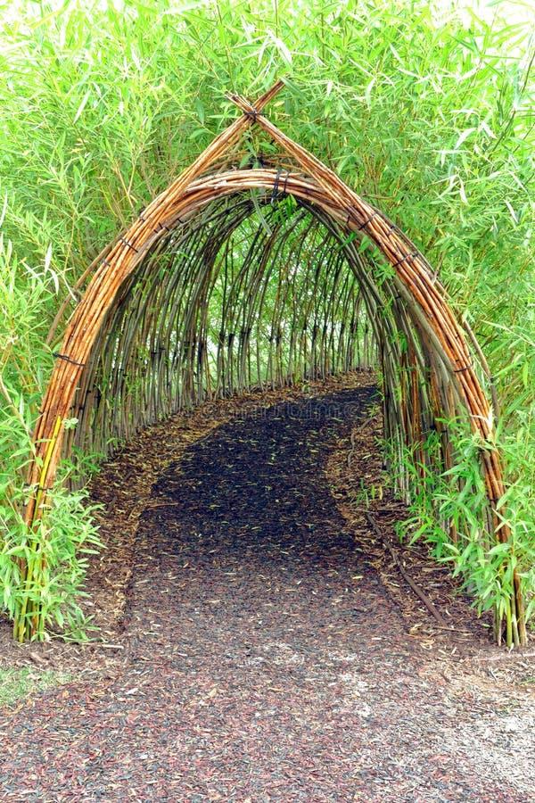 Причудливый бамбуковый тоннель в парке атракционов детей стоковые фото