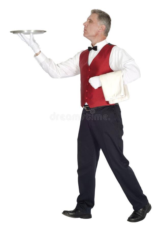 Причудливый головной кельнер держа изолированный поднос, стоковое фото rf