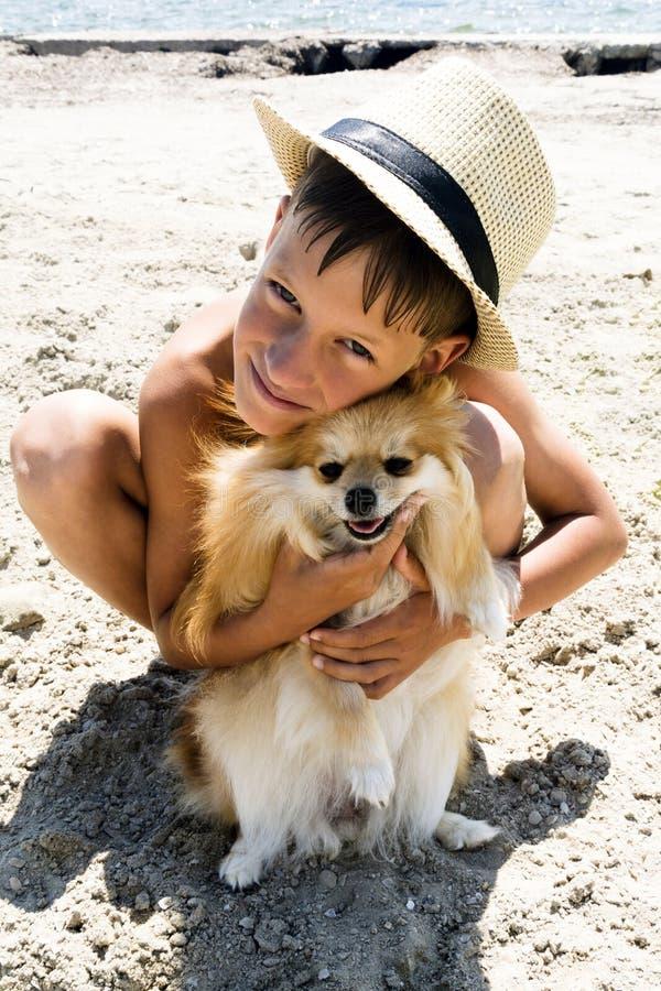 Приятельство, мальчик и собака сидя совместно на пляже моря стоковая фотография rf