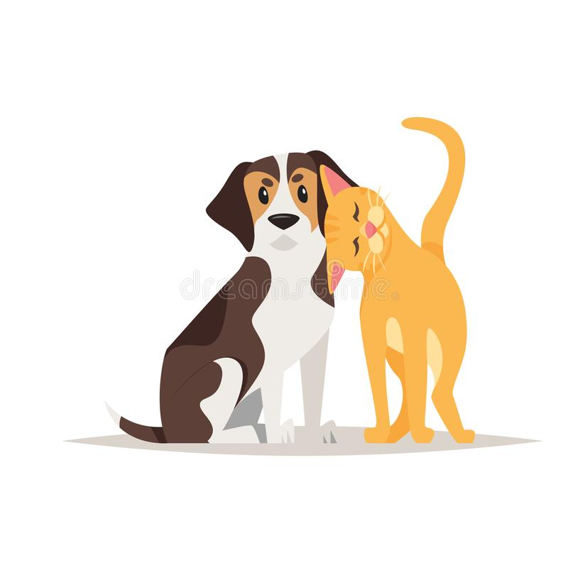 Приятельство собаки кота и бигля иллюстрация вектора
