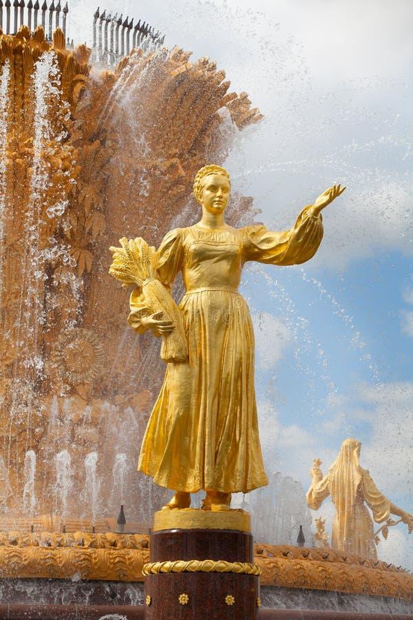 Приятельство фонтана наций СССР или дружбы народов СССР, выставки достижений народного хозяйства стоковая фотография rf