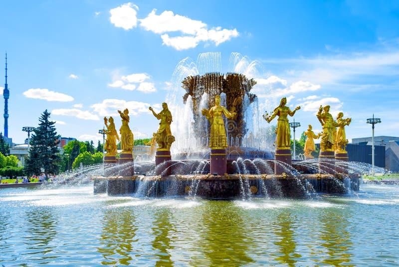 Приятельство фонтана наций в Москве, России стоковые фотографии rf