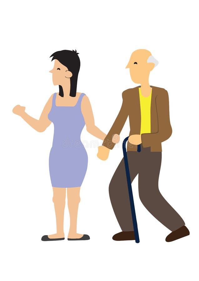 Приятная заботя женщина помогая идти старика Концепция заботя общества бесплатная иллюстрация