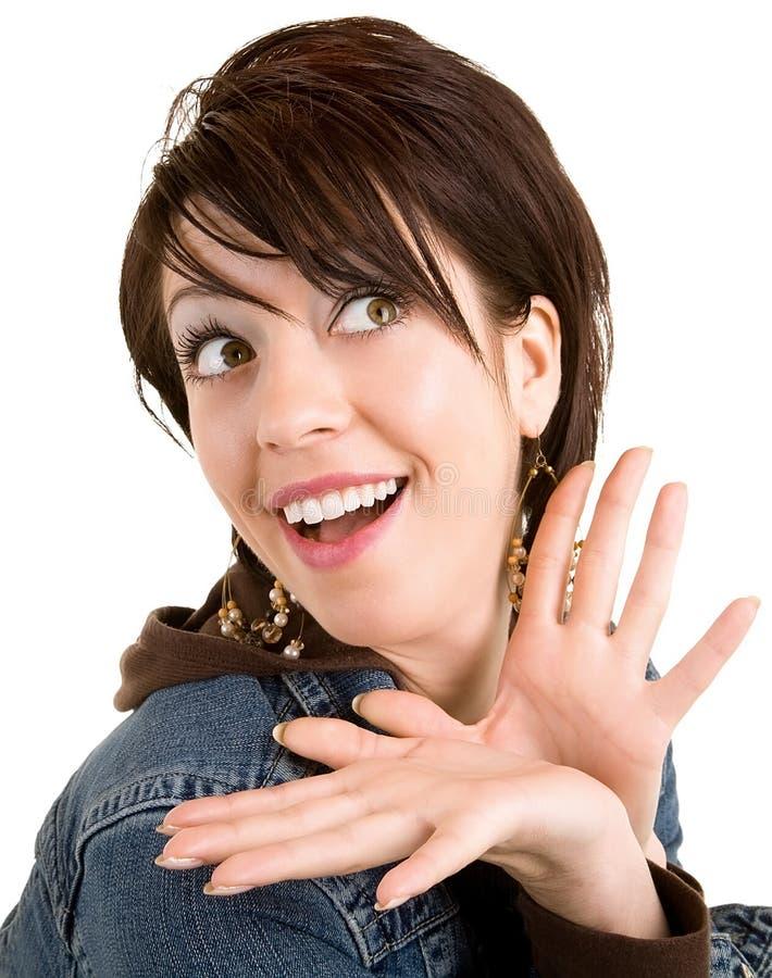приятно что-то удивило женщину стоковое изображение