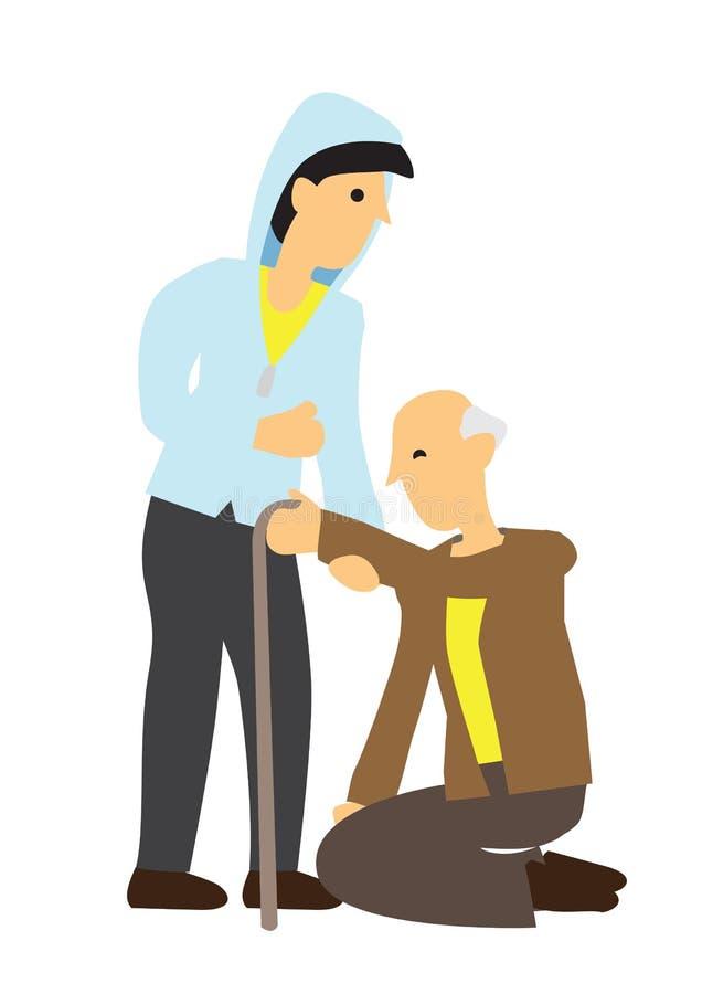 Приятный заботя человек помогая старику к его ногам иллюстрация штока