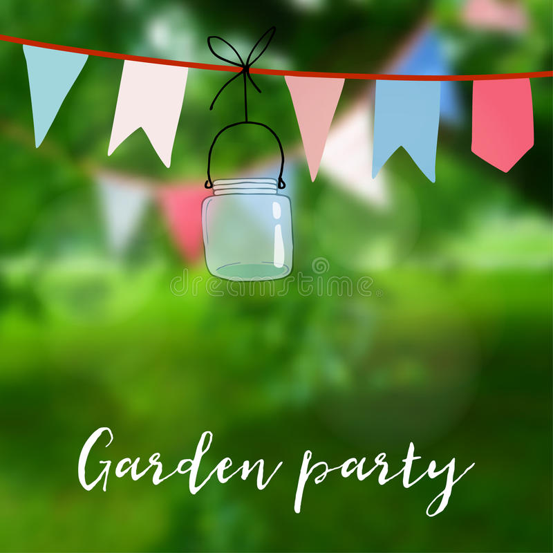 Приём гостей в саду дня рождения или в июнь бразильянина карточка партии Украшение с флагами и опарником Иллюстрация вектора с со иллюстрация вектора