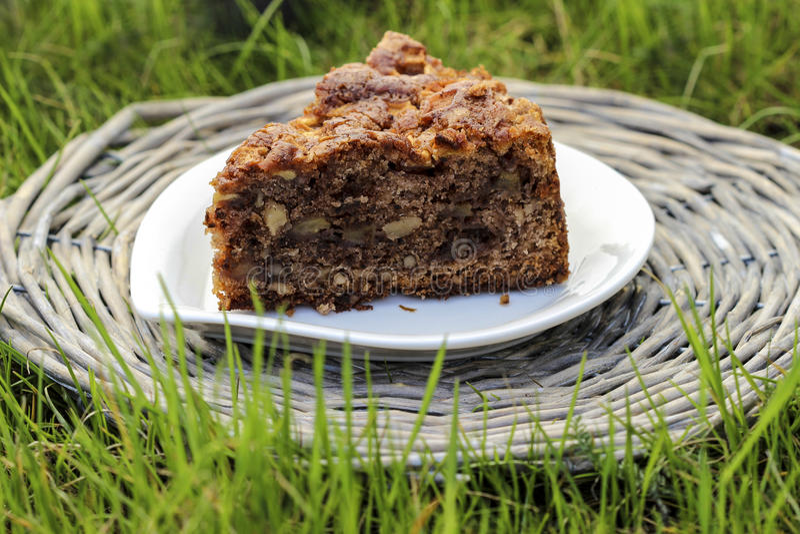 Приём гостей в саду. Шоколадный торт на плетеном подносе стоковые изображения