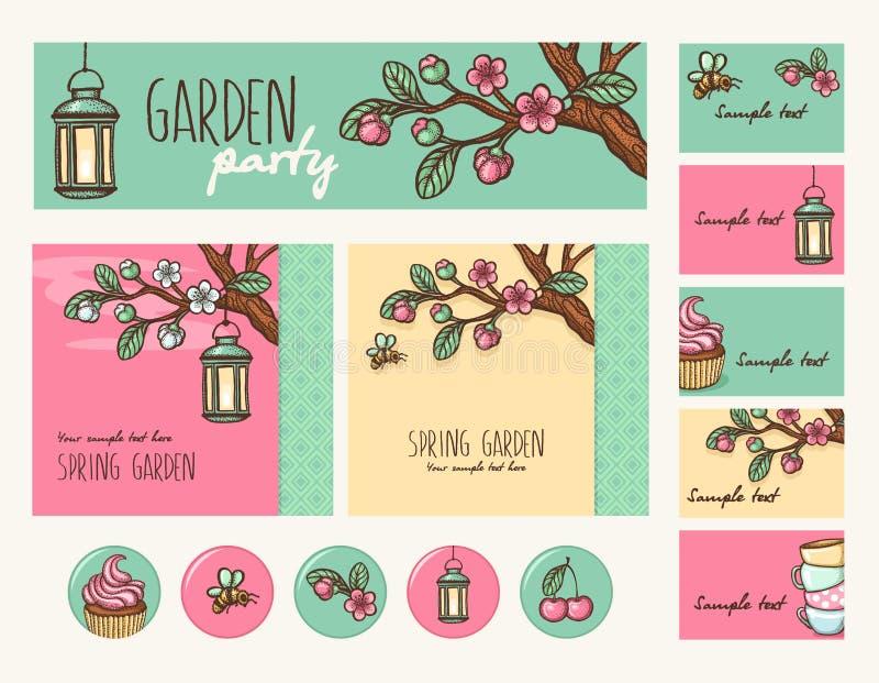 Приём гостей в саду иллюстрация вектора