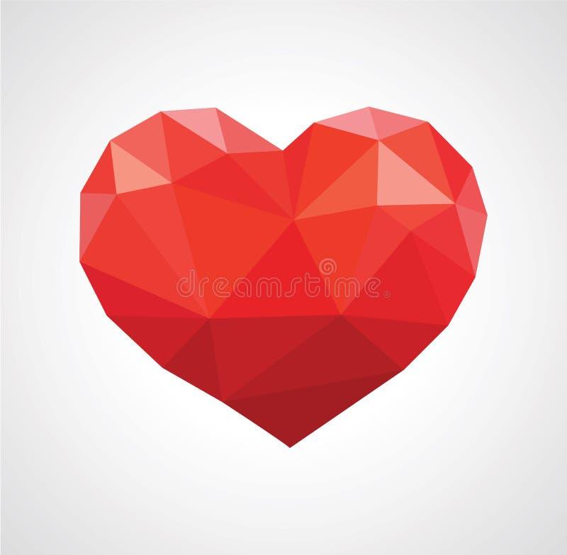 Приданные форму чашки руки держат полигон красного сердца низко-поли на сером цвете бесплатная иллюстрация