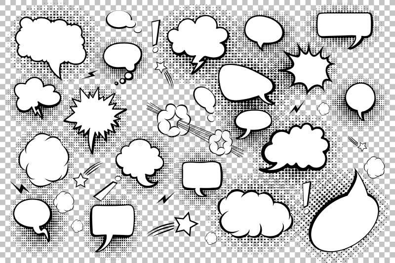 пробел клокочет речь Комплект шуточных пузырей и элементов речи с тенями полутонового изображения также вектор иллюстрации притяж стоковые изображения rf