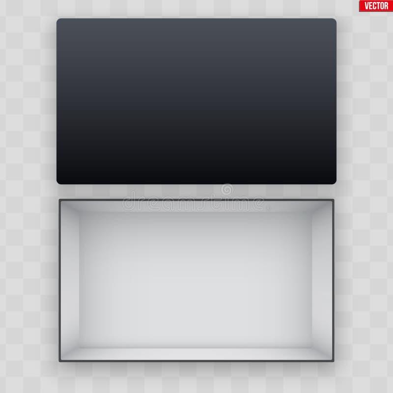 Пробел открытой черной коробки ботинка иллюстрация вектора