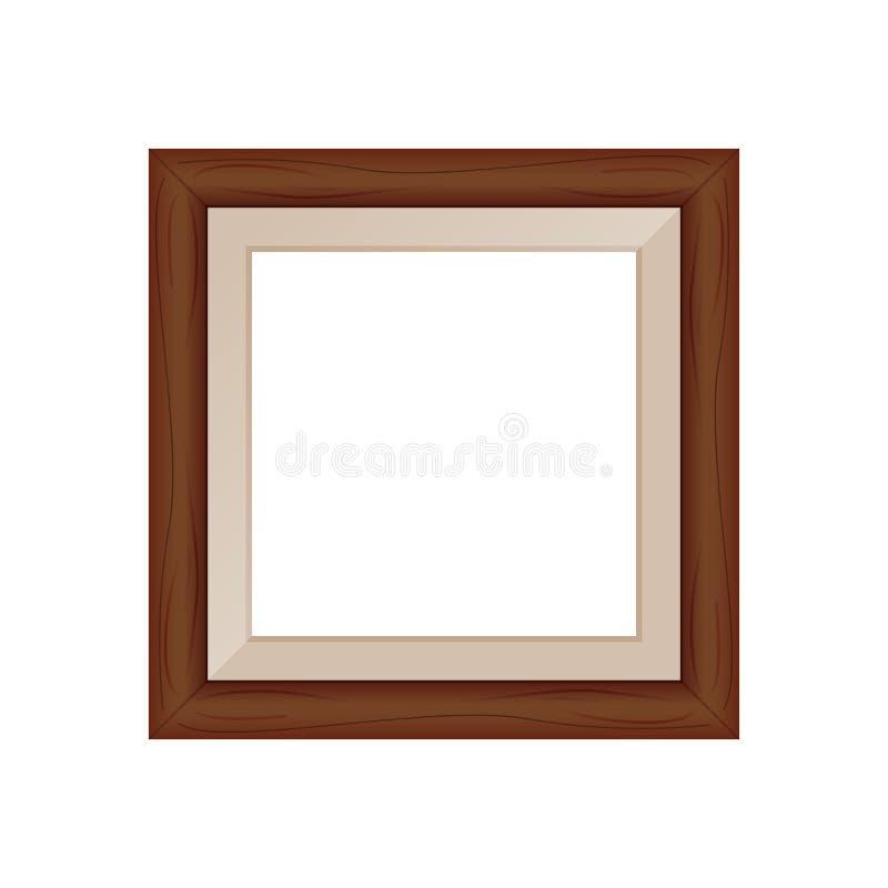 Пробел рамок коричневый деревянный для изображения, изображения квад иллюстрация вектора