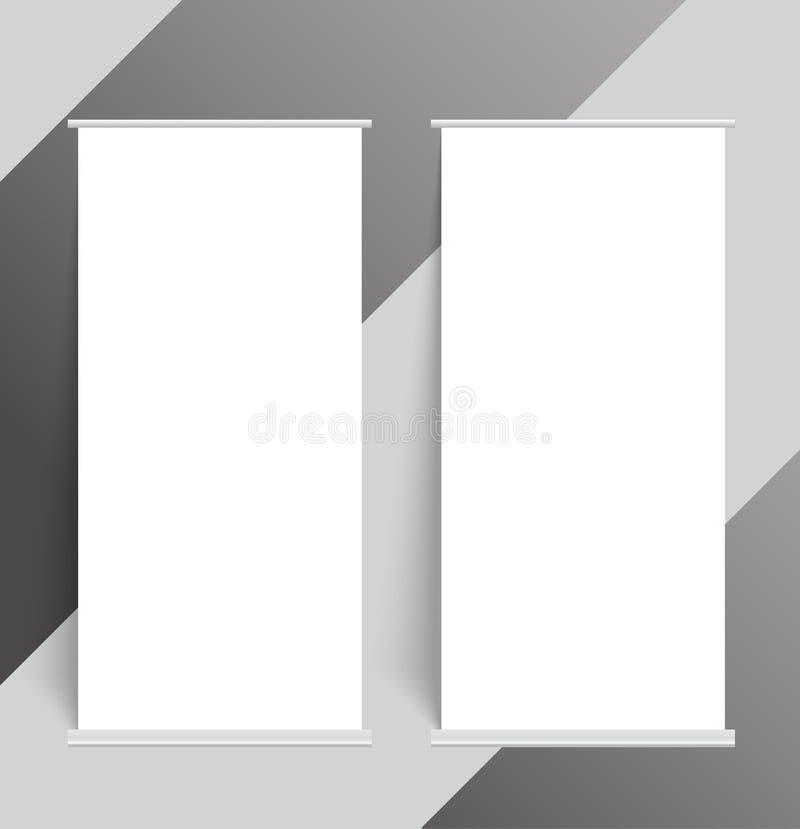 Пробел 2 свертывает вверх шаблон крышки модель-макета стойки знамени иллюстрация вектора