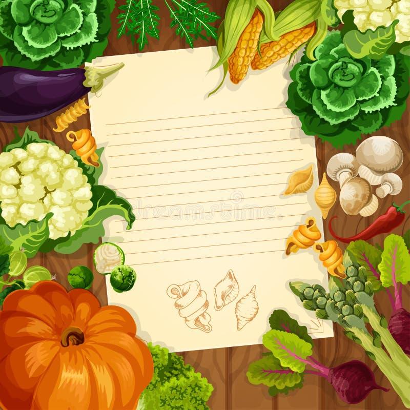 Пробел примечания рецепта или сообщения вектора овощей бесплатная иллюстрация