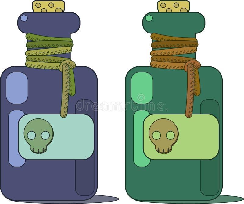 Пробирка отравы Ярлык и пробочка черепа иллюстрация штока