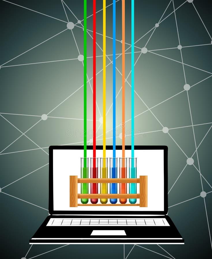 Пробирки науки на экране компьютера бесплатная иллюстрация