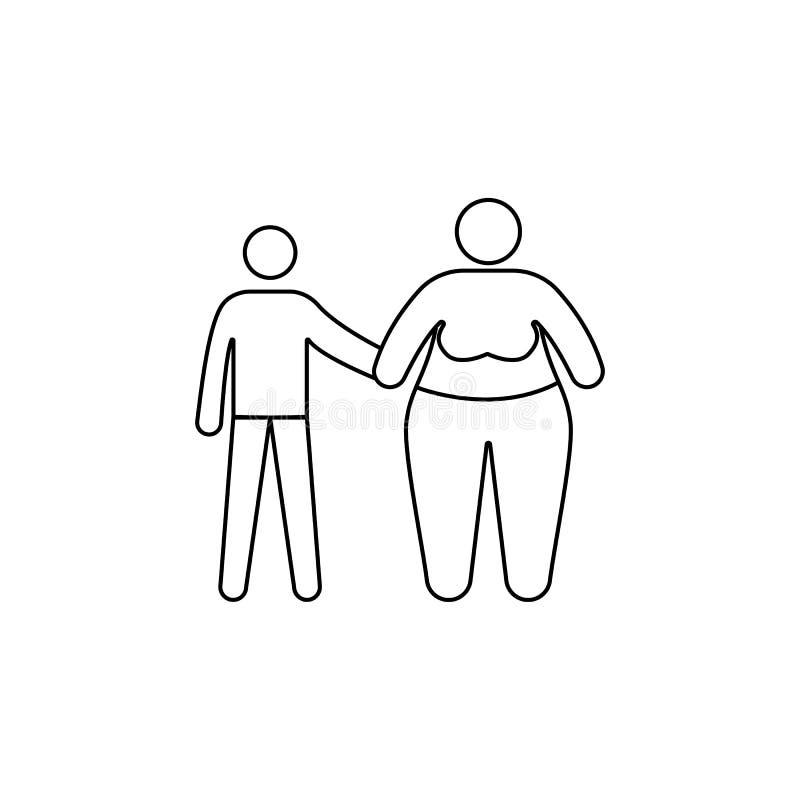 проблема в семье с значком тучности Элемент фаст-фуда для передвижных apps концепции и сети Тонкая линия значок для дизайна вебса бесплатная иллюстрация