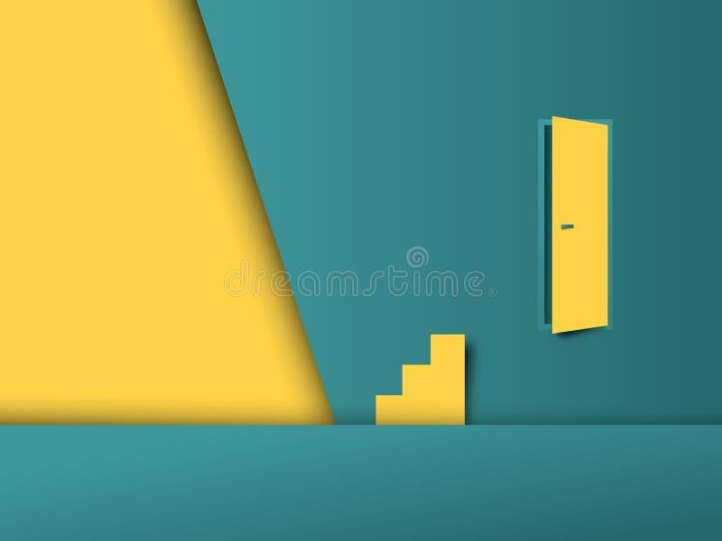 Проблема дела и концепция вектора препоны с дверью на стене и лестницах в неправильном месте Символ обнаружения иллюстрация вектора