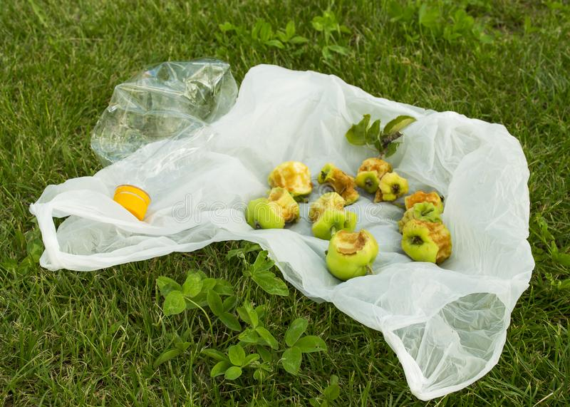 Проблема с загрязнением Пакет лежит на зеленой траве Хлам на лужайке стоковое изображение