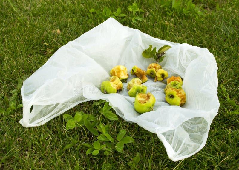 Проблема с загрязнением Пакет лежит на зеленой траве Хлам на лужайке стоковое фото