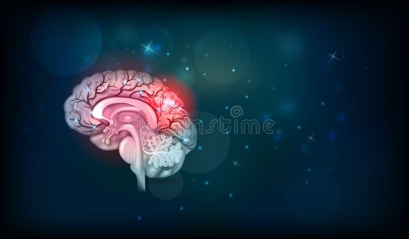Проблемы человеческого мозга иллюстрация вектора
