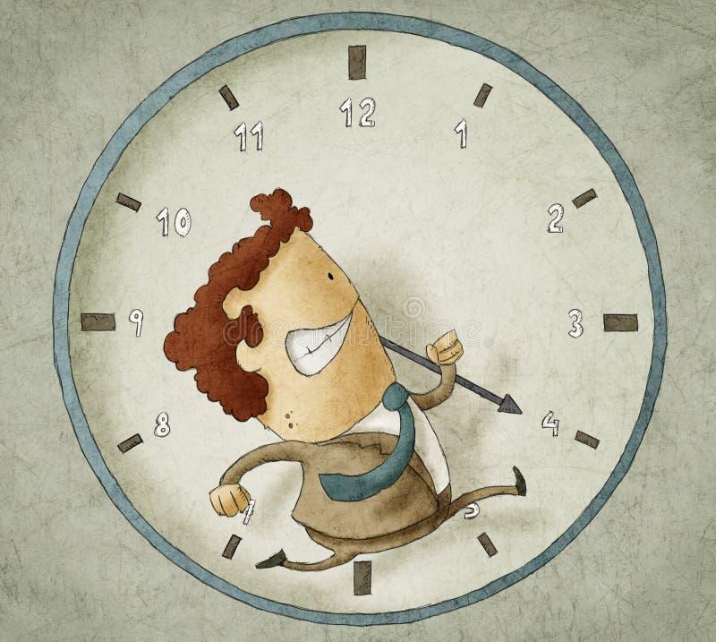 Пробовать побить часы иллюстрация вектора