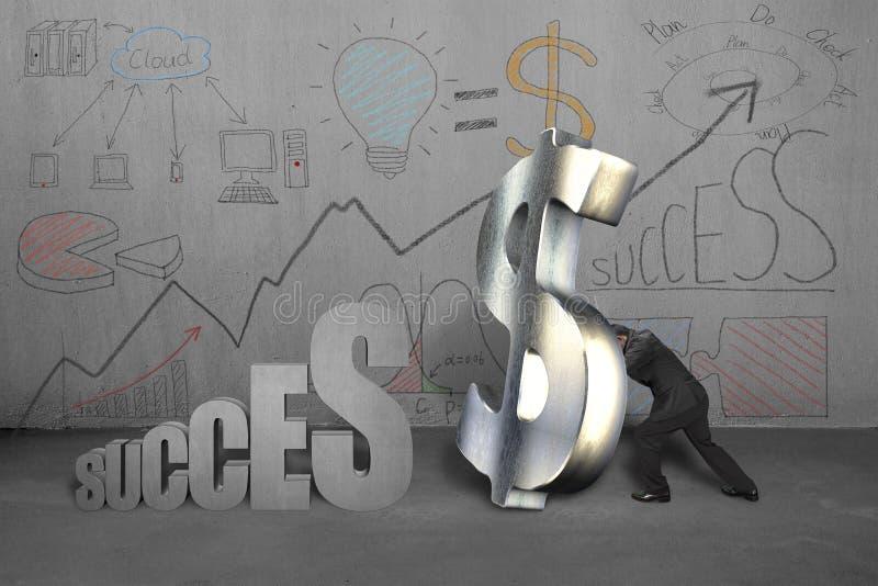 Пробовать стоять символ денег для успеха с делом doodles иллюстрация вектора