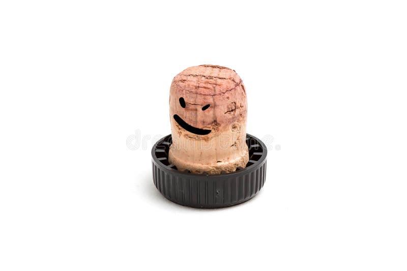 Пробочка для вина с черной пластиковой шляпой на что нарисовано пьяной улыбке и глазам r стоковые изображения