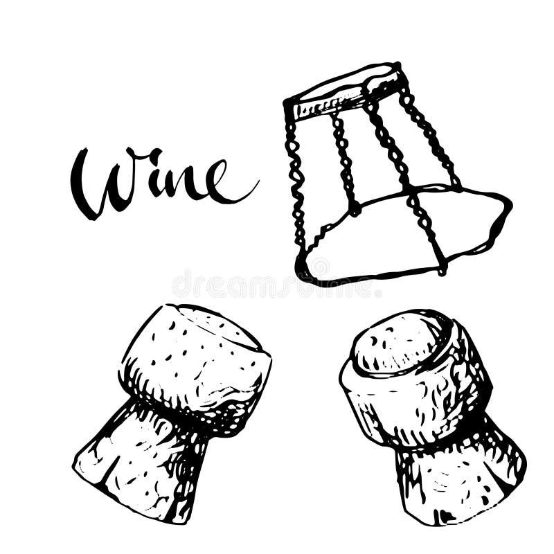Пробочка игристого вина бесплатная иллюстрация