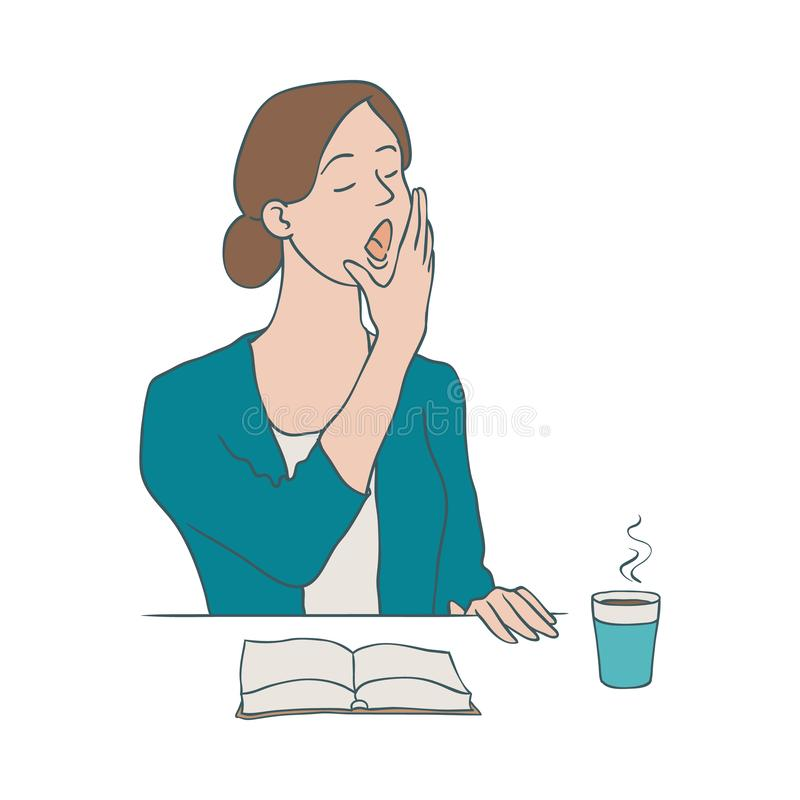 Пробуренная иллюстрация вектора женщины - женский характер зевая пока сидящ на таблице с чашкой кофе и открытой книгой иллюстрация штока