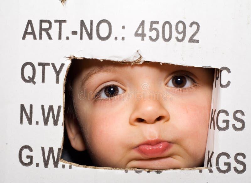 пробуренный малыш картона коробки вне peeking стоковая фотография rf