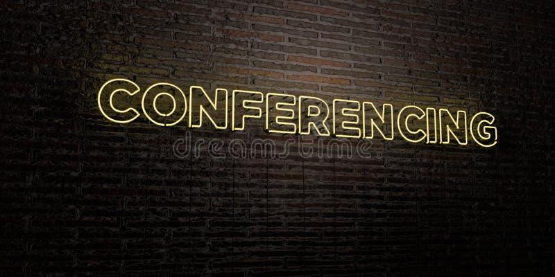 ПРОВЕДЕНИЕ КОНФЕРЕНЦИЙ - реалистическая неоновая вывеска на предпосылке кирпичной стены - представленное 3D изображение неизрасхо бесплатная иллюстрация
