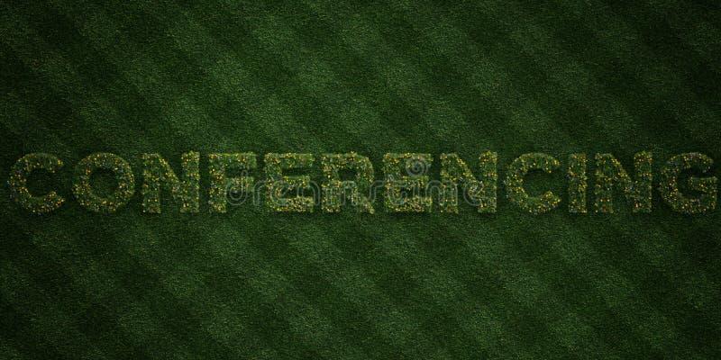 ПРОВЕДЕНИЕ КОНФЕРЕНЦИЙ - свежие письма травы с цветками и одуванчиками - представленное 3D изображение неизрасходованного запаса  иллюстрация вектора