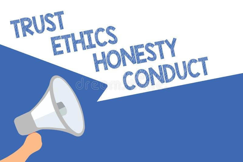 Проведение честности этик доверия текста почерка Смысл концепции означает положительный и добродетельный spe громкоговорителя мег иллюстрация штока
