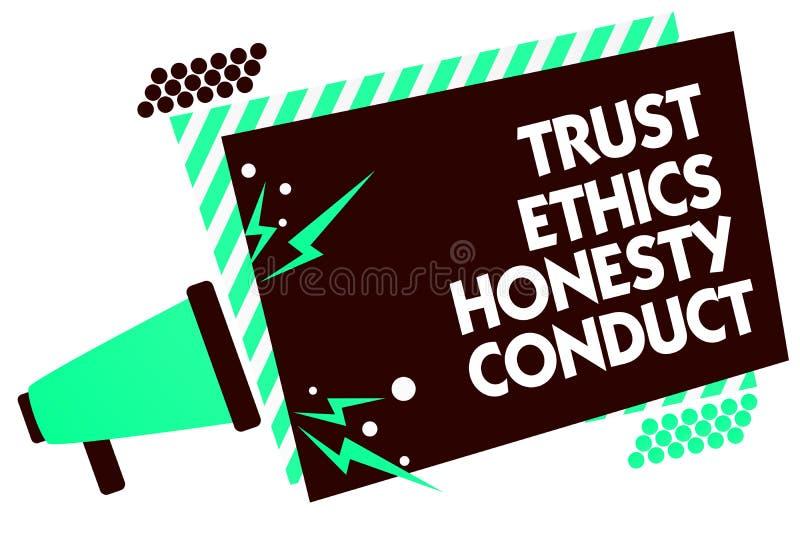 Проведение честности этик доверия текста сочинительства слова Концепция дела для означает положительное и добродетельное loudspea иллюстрация штока