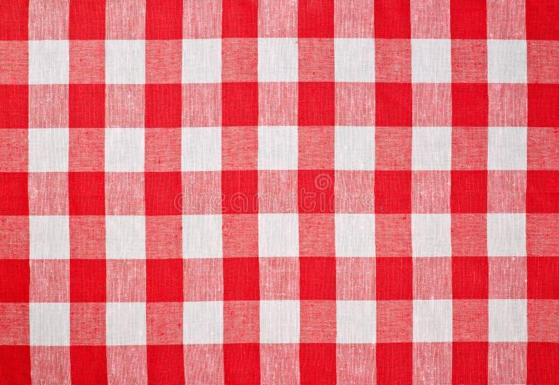 проверенная скатерть красного цвета ткани стоковое изображение