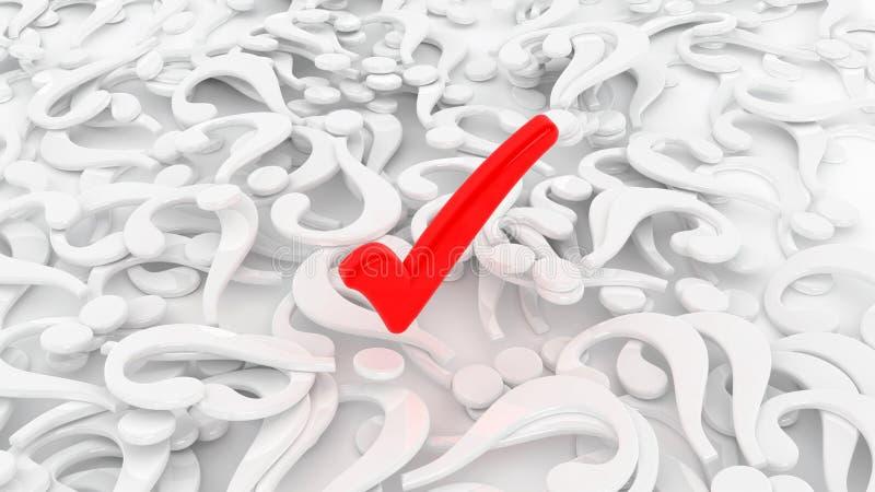 Проверка вопросительного знака красная иллюстрация вектора