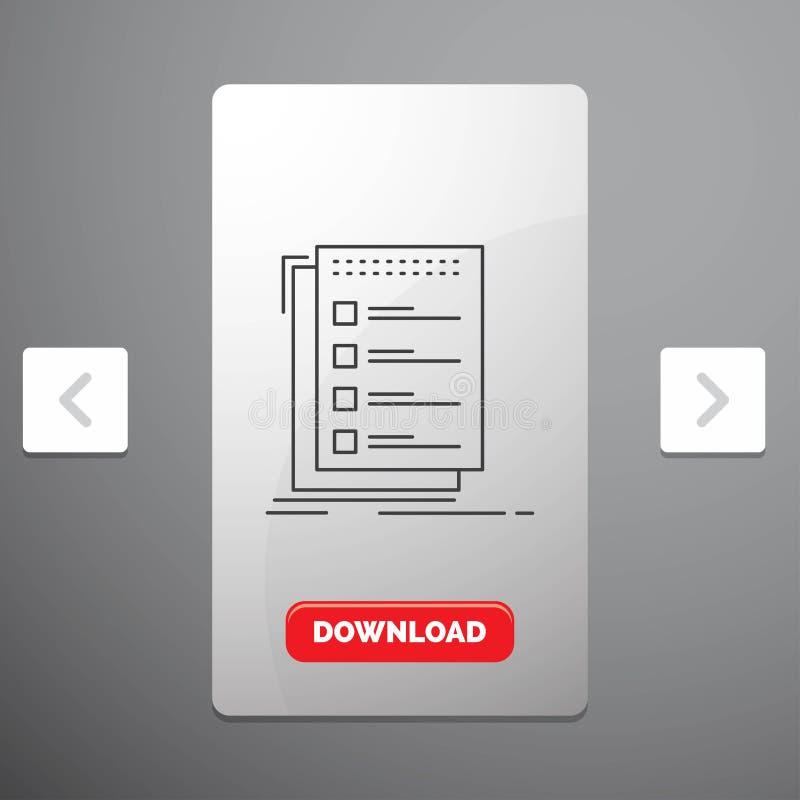 Проверка, контрольный списоок, список, задача, сделать линию значок в дизайне слайдера пагинаций Carousal & красной кнопке загруз бесплатная иллюстрация