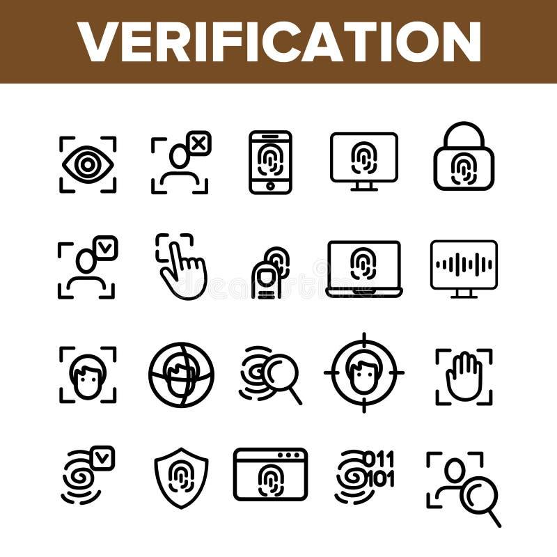 Проверка линии набора вектора ID тонкой значков иллюстрация вектора