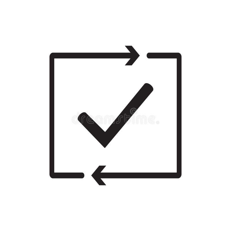 Проверка отростчатого значка Успешно проверенный одобрено испытание Контрольная пометка Контрольная пометка с стрелками Проверка  иллюстрация вектора