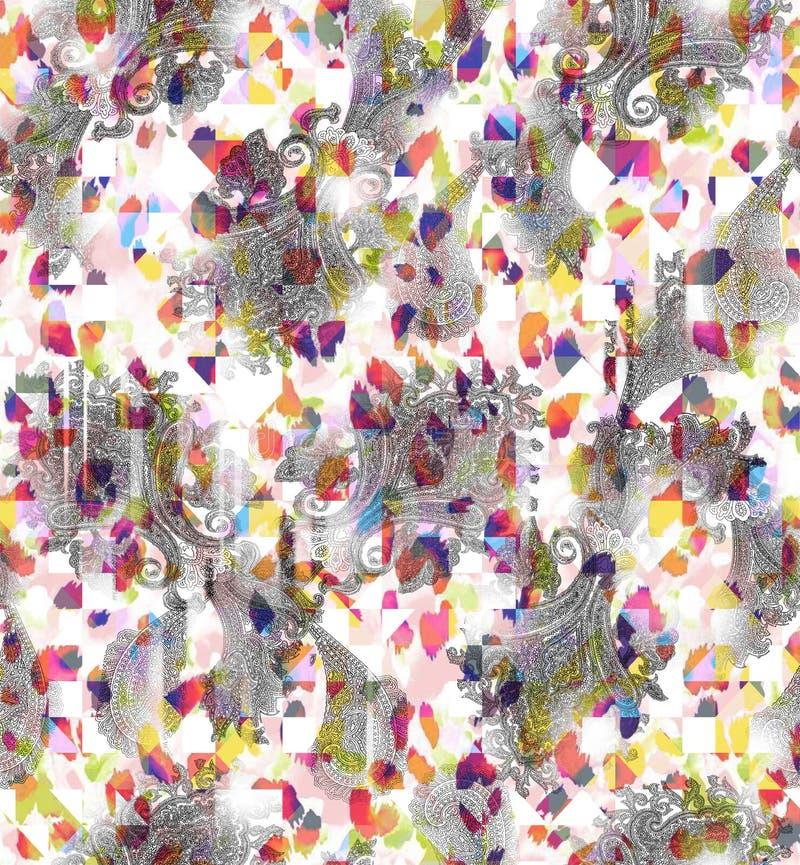 Проверки и Пейсли безшовного конспекта акварели цифровые бесплатная иллюстрация
