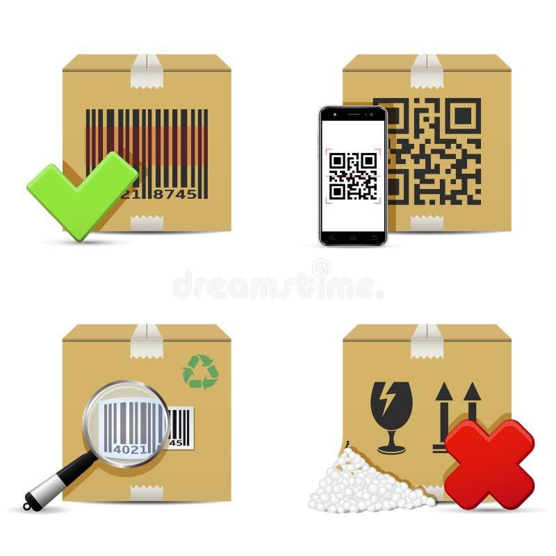 Проверять значки картонных коробок поставки иллюстрация вектора