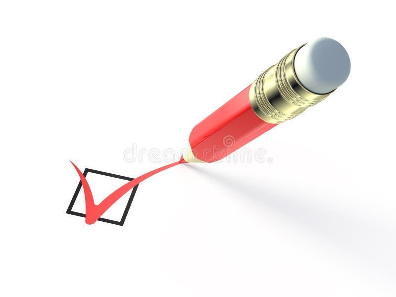 проверять красный цвет карандаша иллюстрация штока