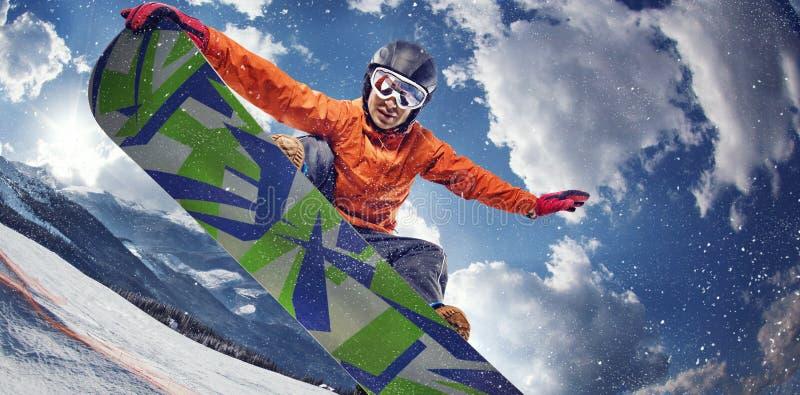 проветрите скача snowboarder стоковое изображение rf