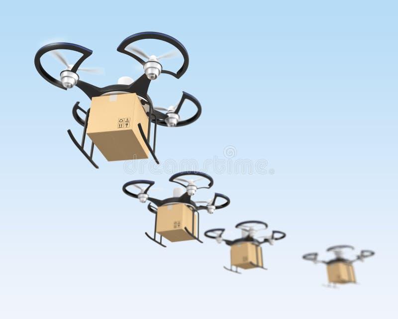 Проветрите трутней с пакетом коробки в небе бесплатная иллюстрация