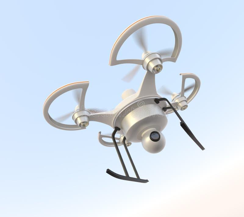Проветрите трутня с летанием камеры в небе иллюстрация штока