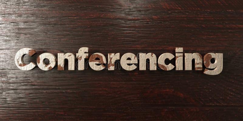 Проведение конференций - grungy деревянный заголовок на клене - представленное 3D изображение неизрасходованного запаса королевск бесплатная иллюстрация