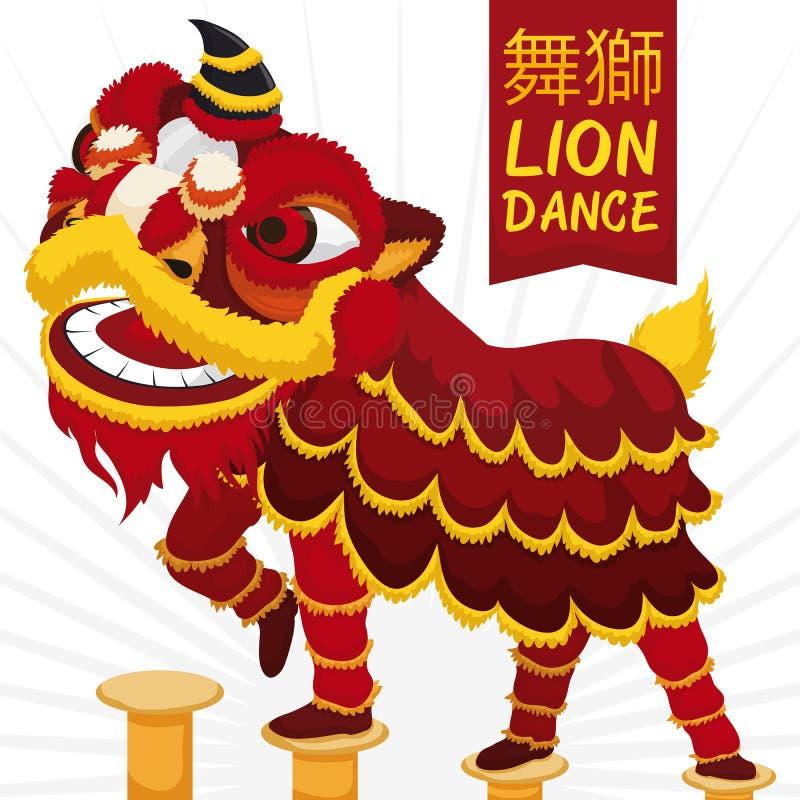 Проведение танца льва традиционного китайския с военной демонстрацией, иллюстрацией вектора бесплатная иллюстрация