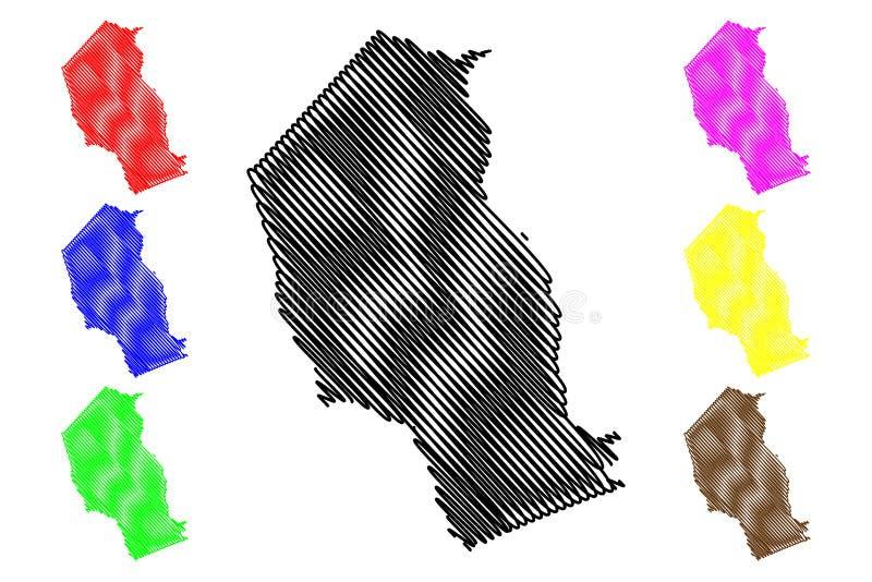 Провинции провинции Газа Мозамбика, республики иллюстрации вектора карты Мозамбика, карты Газа эскиза scribble иллюстрация вектора