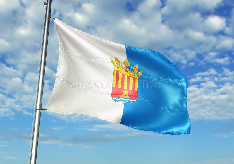 Провинция Аликанте флага Испании развевая с небом на иллюстрации 3d предпосылки реалистической иллюстрация вектора